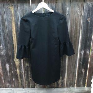 Zara Short Sleeved Ruffle Dress - Black - XS